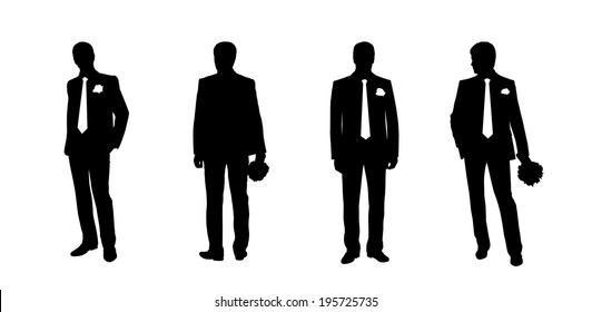 black silhouettes of a groom in different postures, front and back views