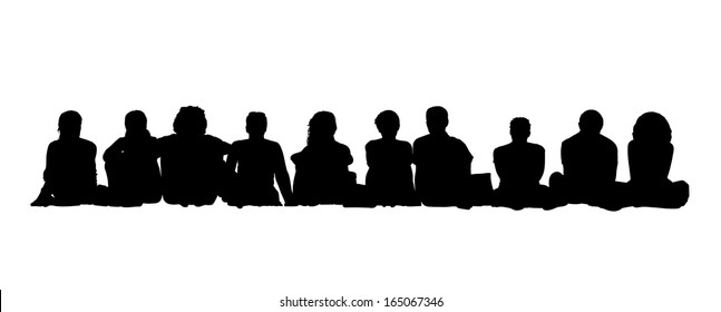 black silhouettes of group of 10 adults men and women seated in a row on the floor face to the onlooker in different postures