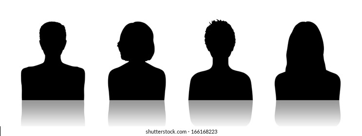 black silhouettes of identity portraits of four different young women