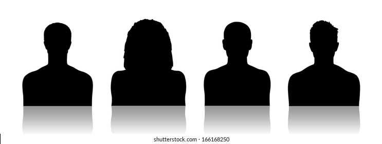 black silhouettes of identity portraits of four different young men