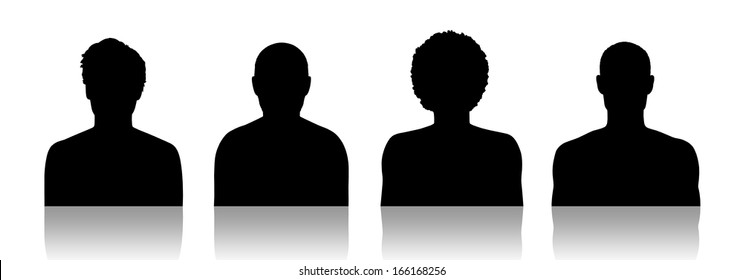 black silhouettes of identity portraits of four different men