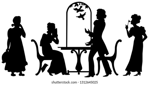 Black silhouettes.  Illustrations for classic Russian literature. Characters for  story of Alexander Pushkin. Final scene. Artwork  graphic picture.