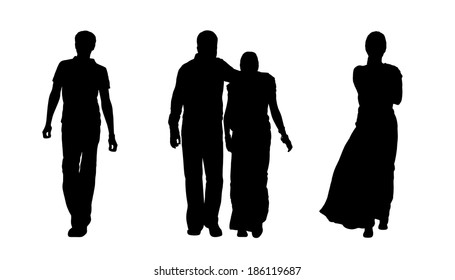black silhouettes of indian man, woman and a couple walking, back view