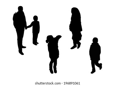 black silhouettes of a man, woman and several children walking outdoor, perspective view from above