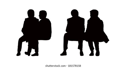black silhouettes of old couples seated outdoor and talking, front view