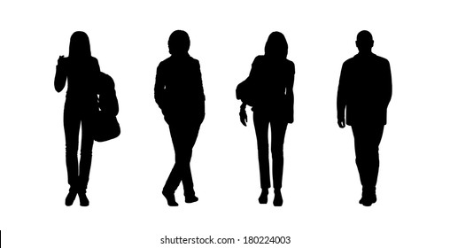 black silhouettes of ordinary young men and women walking outdoor; front and back views