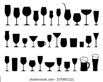 black silhouettes set of glasses for wine, cocktail, beer, liquor, martini