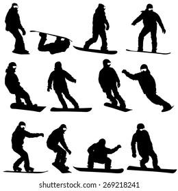 Black silhouettes set snowboarders on white background.  illustration.