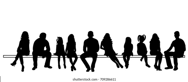 black silhouettes of sitting people