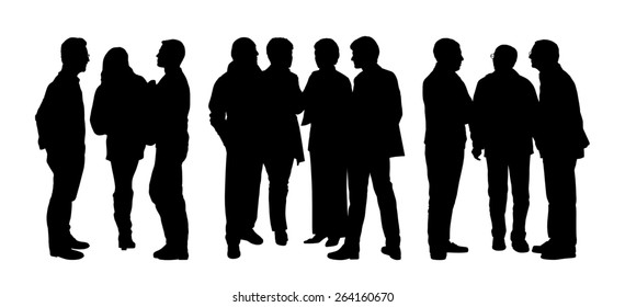 black silhouettes of three groups of different people standing and talking to each other