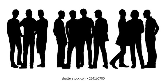 black silhouettes of three groups of different men only standing and talking to each other