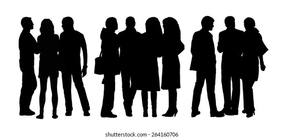 black silhouettes of three groups of different men and women standing and talking to each other