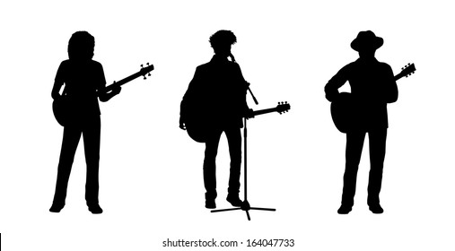 black silhouettes of three musicians playing guitar and bass guitar standing, front view