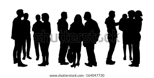 black silhouettes of three small groups of people standing and talking to each other, back and profile views