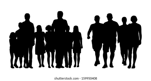 black silhouettes of two big groups of people of different sex and age walking in the street, front view