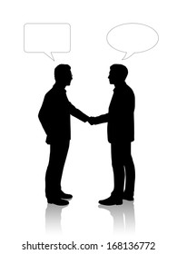 black silhouettes of two young businessmen shaking their hands, vacant text bubbles above them