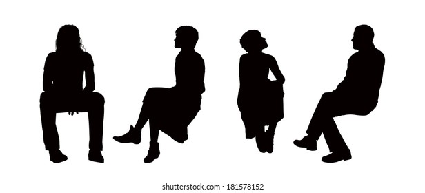 black silhouettes of young men and women seated outdoor in different postures, front, back and profile views