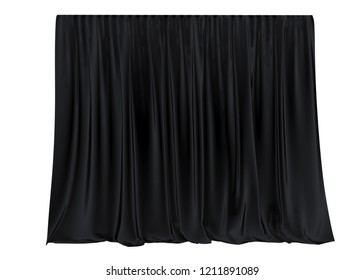 Black silk curtain isolated on white background. 3d render, 3d illustration.