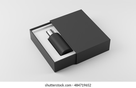 Black and silver perfume bottle in white and black box on white background. Concept of new scent promotion. 3d rendering. Mockup