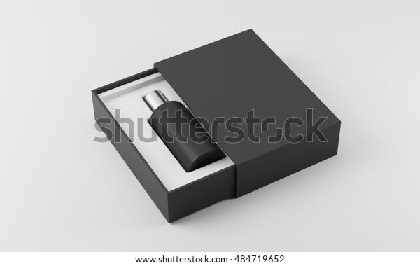 Черный и серебряный флакон духов в белом и черном ящике на белом фоне. Концепция продвижения нового аромата. 3d рендеринг. Маккап
