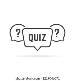 black simple quiz with speech bubbles. concept of vote, intelligence, brainstorm, quizz, time game stamp. flat lineart style trend modern graphic design illustration on white background