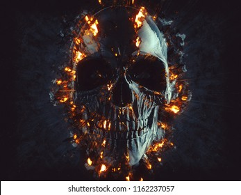 Black skull - flames and embers - 3D Illustration