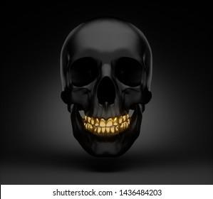 Black skull with golden teeth smiling - 3D illustration