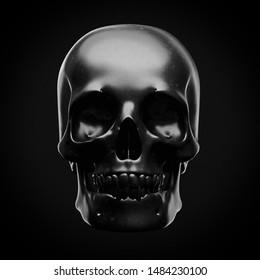 Black skull on a black background. 3d render