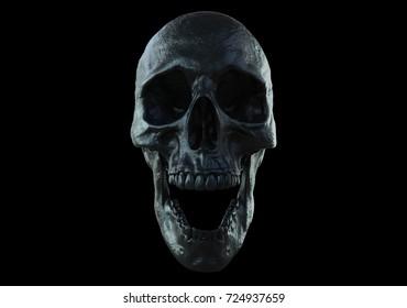 black skull screaming isolated in black background 3d illustration