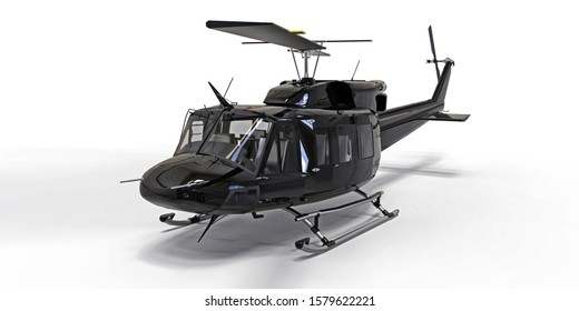 Black small military transport helicopter on white isolated background. The helicopter rescue service. Air taxi. Helicopter for police, fire, ambulance and rescue service. 3d illustration.