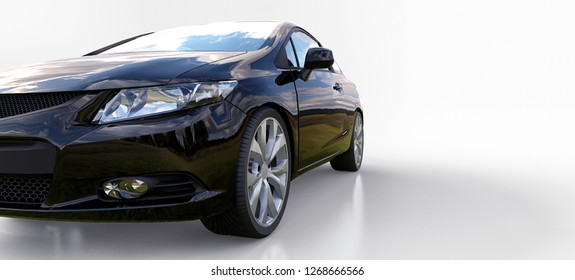 Black small sports car coupe. 3d rendering.