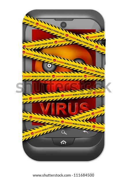 Black Smart Phone Skull Virus Alert Stock Illustration 111684500