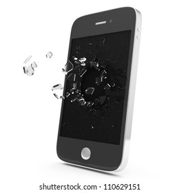 Black Smartphone with Broken Display isolated on white background