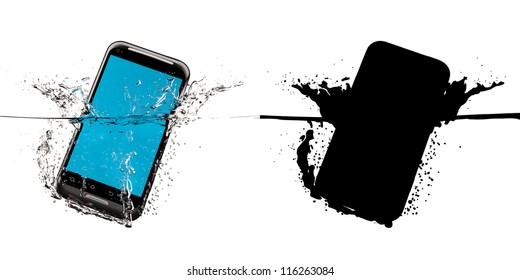 The black smartphone fallen in water. 3D-model. Black mask.