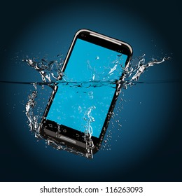 The black smartphone fallen in water. 3D-model.