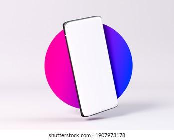 Black smartphone  mock up on stylish background 3d rendering