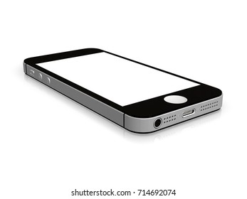 Black Smartphone Mockup with Blank Screen for Design Project - Mock Up 3D illustration Isolate on White Background