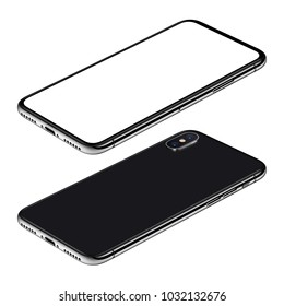 Black smartphone perspective view mockup. Frameless smartphone front side with white screen and back side lies on surface isolated on white background. 3D illustration.
