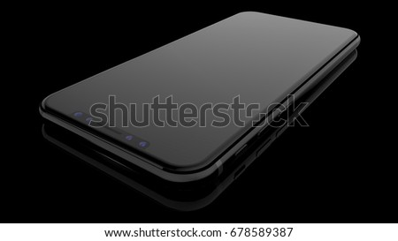 Black smartphones with blank screen, isolated on black background. 3d illustration.