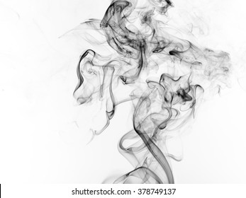 Black smoke abstract on white background for design