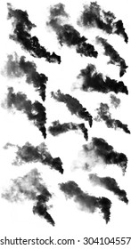 The black smoke isolated on white background