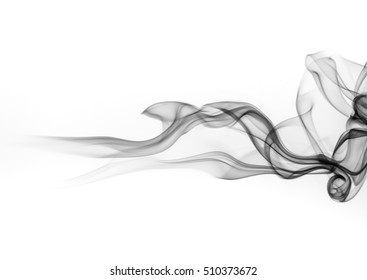 Black smoke on white background, abstract art, Movement of smoke