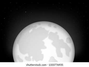 black snd white supermoon, full moon and the starry night sky, horizontal  illustration