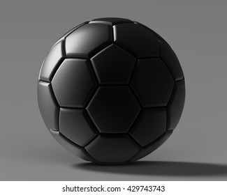 Black soccer ball. 3D illustration. 3D CG. Format 5:4.