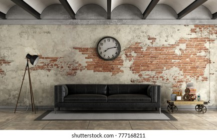 Black sofa in a grunge room with old brick wall - 3d rendering