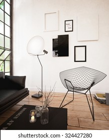 Black sofa set in the modern living room - 3 d render using 3 d s Max