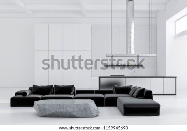 Black Sofas Standing Around Slate Like Stock Illustration 1159945690