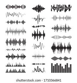 Black sound waves logo collection with audio symbols on white background. Modern music equalizer elements set. Digital flat isolated illustration. Waveform technology.