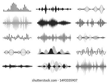 Black sound waves. Music audio frequency, voice line waveform, electronic radio signal, volume level symbol.  curve radio waves set