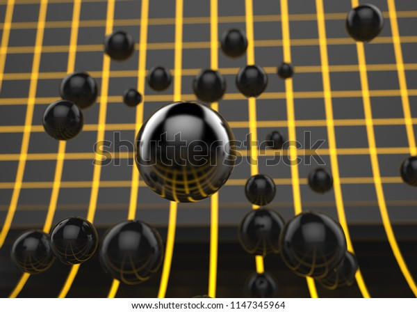 Black spherical particles floating around - 3D Illustration